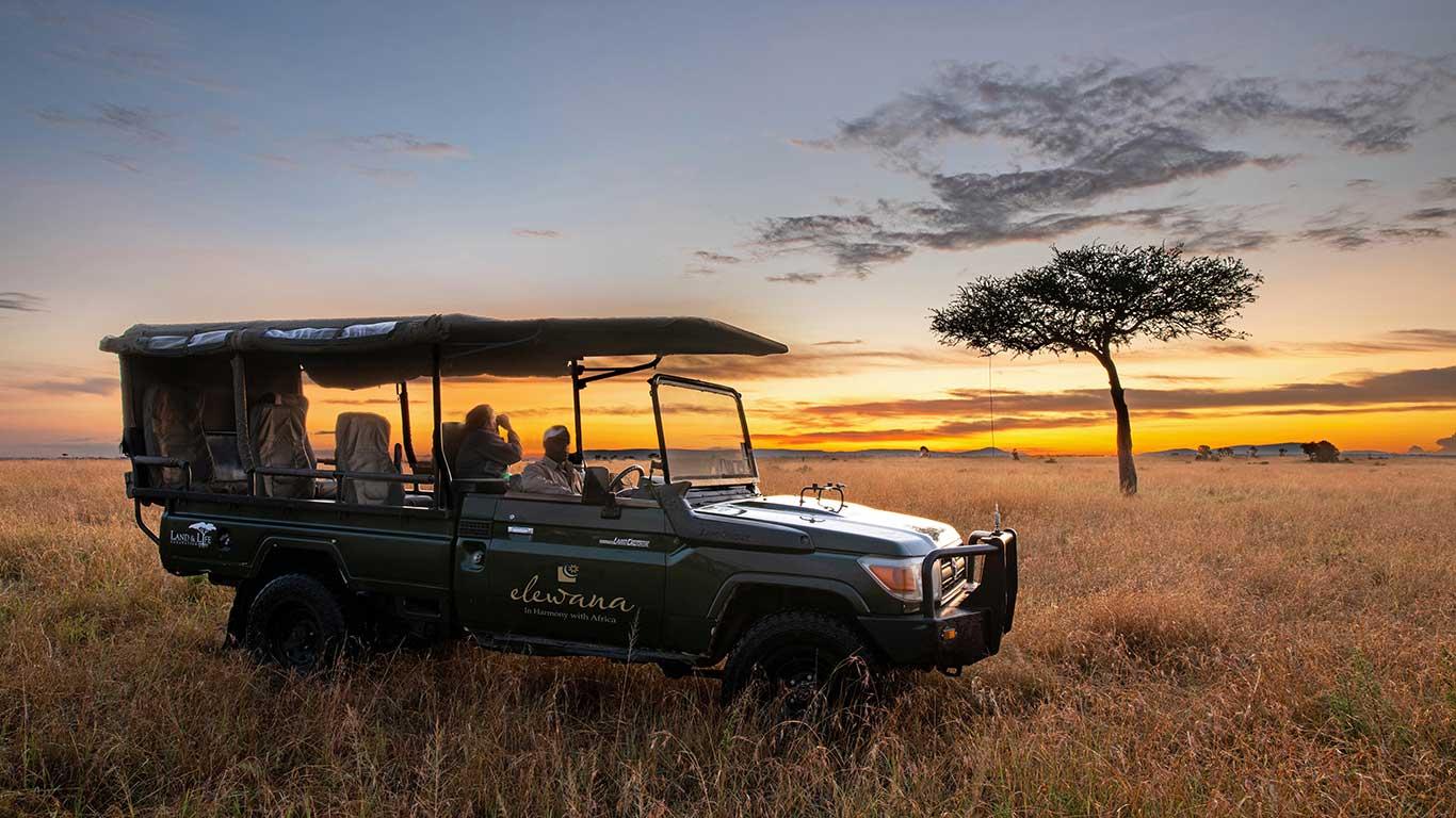 Elewana Sand River Game drive at sunrise
