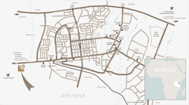 arusha coffee lodge map